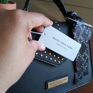 Andrew Marc Bags - MARC NEW YORK Black Satchel w/ Gold Accents